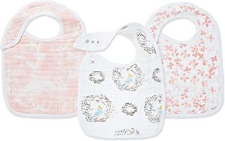 Aden + Anais Classic Snap Bib, 100% Cotton Muslin, Soft Absorbent 3 Layers, Adjustable, 9'' X 12'', 3 Pack, Birdsong