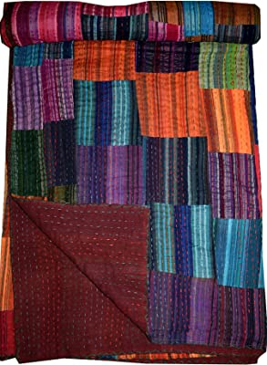 Traditional Patchwork Handmade Kantha Quilt Throw Blanket Tribal Asian Textiles Indian Multi Ethnic Multi Patch Stripe Kantha Quilt