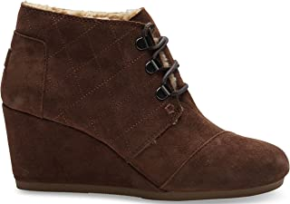 TOMS Women's Desert Wedge Chocolate Brown Suede w/Shearling Boot 12 B (M)