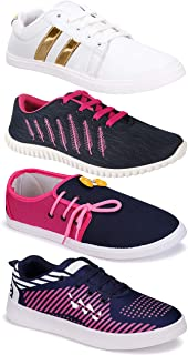 Camfoot Women's (5032-765-11028-5026) Multicolor Casual Sports Running Shoes (Set of 4 Pair)