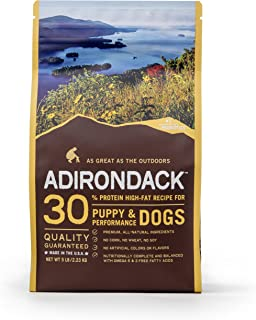 Adirondack Puppy Food For Puppies and Performance Dogs Made in USA [High Protein Dog Food For All Breeds and Sizes], Chicken Meal & Brown Rice Recipe