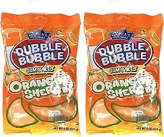 Dubble Bubble Gum Balls Orange Sherbet Flavor - 2 packs of 4 oz. each