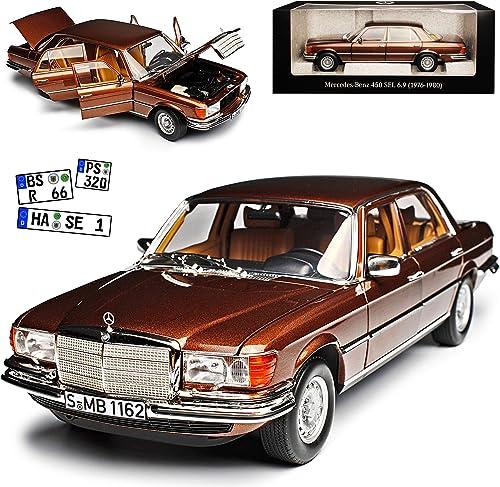 Norev Mercedes-Benz S-Klasse W116 450 SEL 6.9 1976 Milan Braun Metallic 1972-1980 1 18 Modell Auto mit individiuellem Wunschkennzeichen