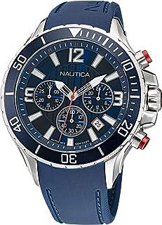 Nautica Men's Stainless Steel Quartz Silicone Strap, Blue, 22 Casual Watch (Model: NAPNSS116)