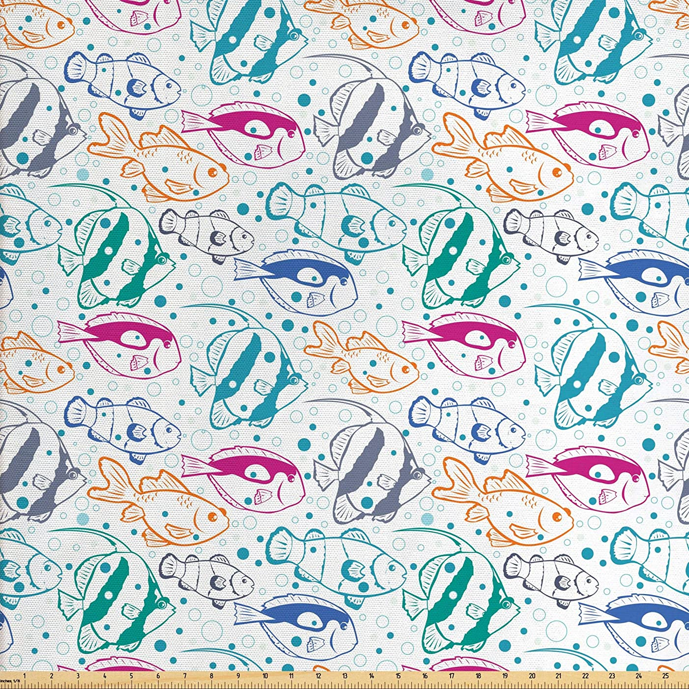 Ambesonne Fish Fabric by The Yard, Marine Design Ocean Animals Underwater Hand-Drawn in Lively Colors Retro Cartoon Style, Decorative Fabric for Upholstery and Home Accents, 1 Yard, Multicolor