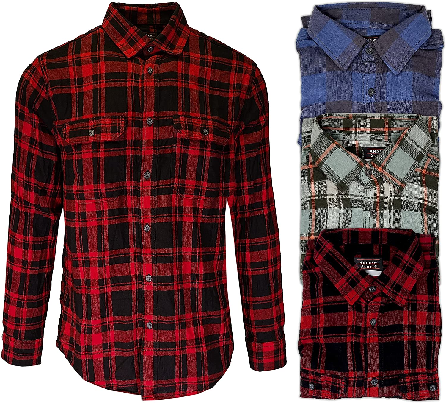 Andrew Scott Men's Button Down Regular Fit Long Sleeve Plaid Flannel Casual Shirts -Pack of 3