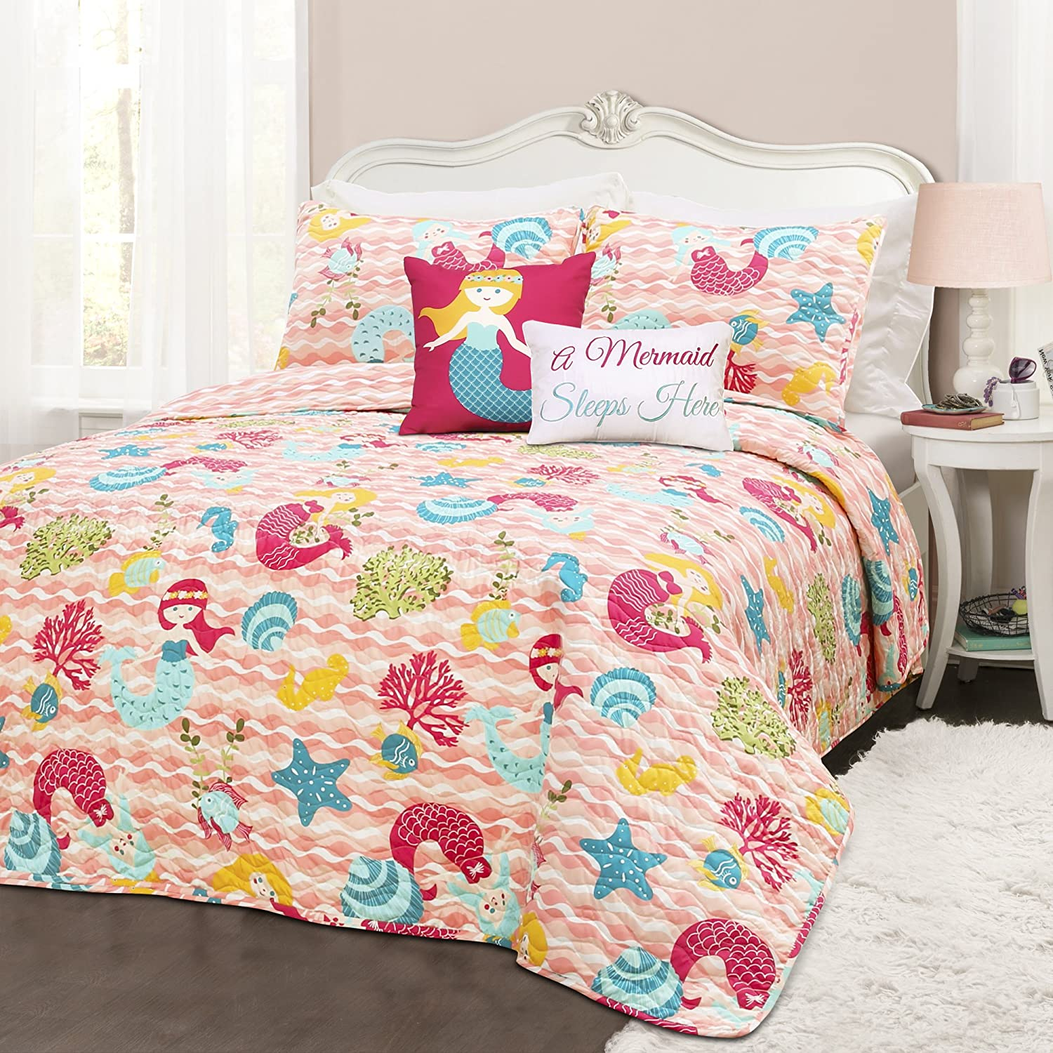 Lush Decor 4 Piece Mermaid Waves 4Piece Quilt Set, Twin, Pink
