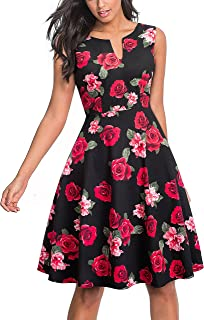 HOMEYEE Women's Casual Sleeveless Floral Fit Flare Dress A091