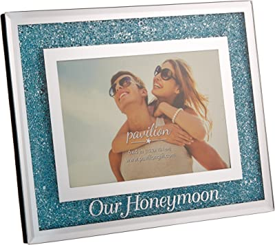 Pavilion - Our Honeymoon Blue Crystal Mirrored 4x6 Picture Frame