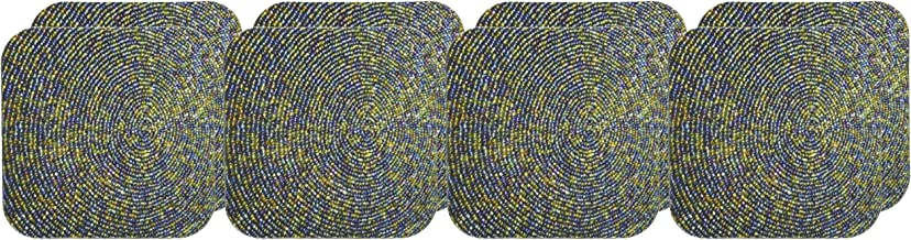 3dRose CST_109126_2 Circle Me Beaded-Soft Coasters, Set of 8