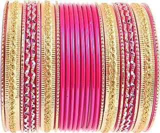 "NEW! Touchstone ""Colorful 2 Dozen Bangle Collection"" Indian Bollywood Alloy Metal Textured Fuchsia Designer Jewelry Specia..."