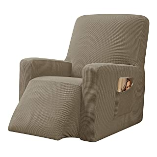 CHUN YI Stretchable Recliner Cover 1 Piece Jacquard Chair Slipcover with Elastic Band, Spandex Sofa Replacement with Side ...