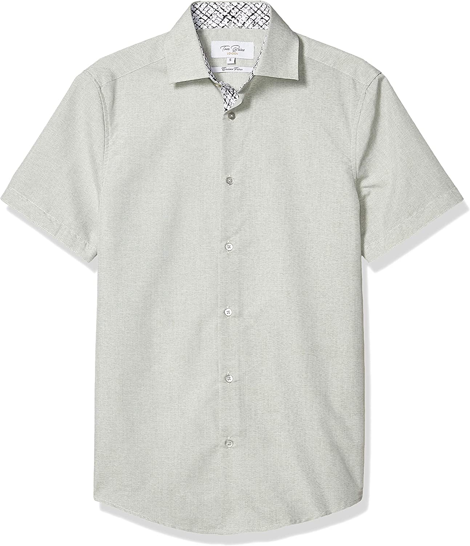 Sacramento Mall Azaro Uomo Men's Button Down Collar Short Dress Colorado Springs Mall Sol Shirt Sleeve