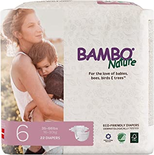 Bambo Nature Eco Friendly Premium Baby Diapers for Sensitive Skin, Size 6 (35-66 lbs), 22 Count