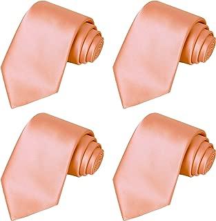 KissTies 4PCS Solid Ties Satin Tie Wedding Neckties + 1 Magnetic Box