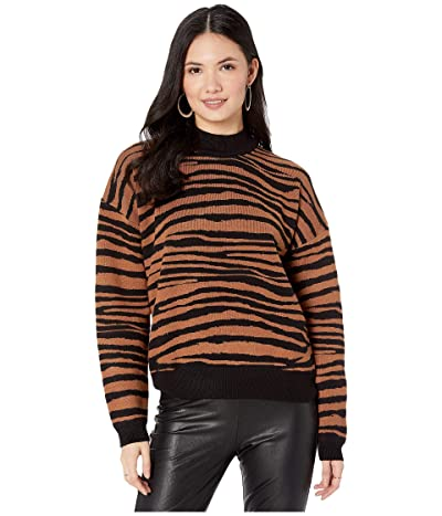 WAYF Vincent Intarsia Sweater (Black/Camel Tiger) Women