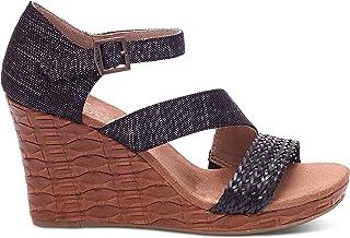 ca1446ff964 TOMS Women s Clarissa Wedge Black Metallic Linen Embossed Sandal 12 B (M)