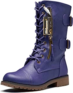 Sponsored Ad - DailyShoes Women`s Ankle Bootie High Lace up Military Combat Mid Calf Credit Card Knife Money Wallet Pocket...