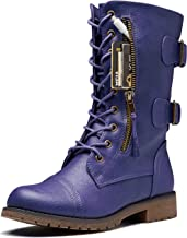DailyShoes Women's Ankle Bootie High Lace up Military Combat Mid Calf Credit Card Knife Money Wallet Pocket Boots