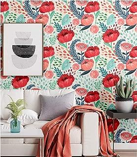 Blooming Wall Peel&Stick Red Flower Green Leaves Self-Adhesive Prepasted Wallpaper Wall Mural (011)