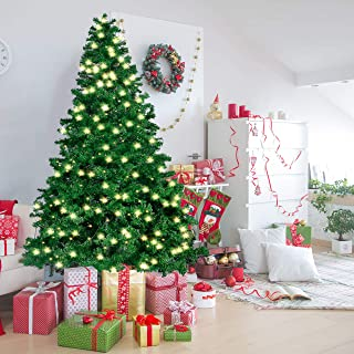 Joiedomi 7.5 Ft Prelit Christmas Tree, Hinged Artificial Christmas Tree with 660 Clear LED Lights(8 Modes) and Metal Stand