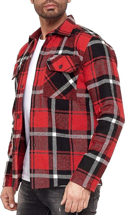 Red Bridge - Moderna Camisa de leñador Manga Larga de Corte Recto a Cuadros para Hombre