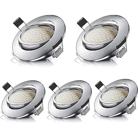 LED Spots Encastrables Orientable Rond 5W Ultraslim Blanc Chaud 3000K 470LM 230V IP44 éclairage plafond encastré pour salle de bain, Cuisine, Salon, Couloir (lot de 5)