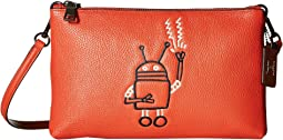 코치 X 키스 해링 라일라 크로스백 로봇 COACH Keith Haring Pebbled Leather Lyla Crossbody,Bright Orange