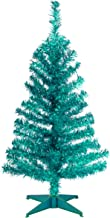 National Tree 2 Foot Black Tinsel Tree with Plastic Stand (TT33-704-20-1), Turquoise, 3 feet