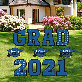 Tatuo 11 Pieces Graduation Yard Sign Decorations Congrats Graduation Lawn Signs 2021 Grad Yard Signs with 23 Stakes for Ou...