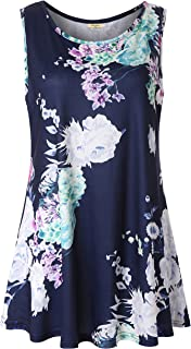 Women's Summer Casual Sleeveless Swing Tunic Floral Tank Top