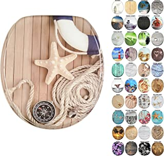 Sanilo Round Toilet Seat, Wide Choice of Slow Close Toilet Seats, Molded Wood, Strong Hinges (Maritime)