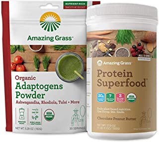 Amazing Grass Protein Superfood & Collagen Booster Bundle - Protein Superfood Powder Chocolate Peanut Butter & Adaptogens ...