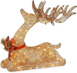National Tree 31 Inch Sisal Splendor Champagne Lying Deer with 105 Mini Clear Lights (DF-105009U)