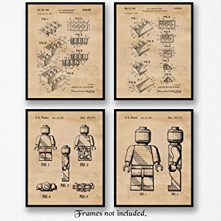 Original Lego Patent Poster Prints, Set of 4 (8x10) Unframed Photos, Wall Art Decor Gifts Under 20 for Home, Office, Man Cave, School, Shop, College Student, Teacher, Children, Comic-Con & Movies Fan