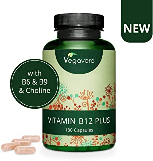 Vitamina B12 PLUS Vegavero® | SIN ADITIVOS | Las 2 Formas Activas + Ácido Fólico + B6 + Colina | Vegana | Energía + Fatiga + Vitaminas Para el Cansancio + Anemia | 180 Cápsulas
