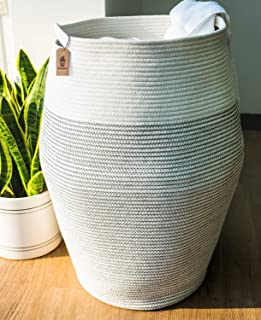 """Goodpick Laundry Hamper   Woven Cotton Rope Dirty Clothes Hamper Tall Kids Curve Laundry Basket Large, 25.6"""" Height"""