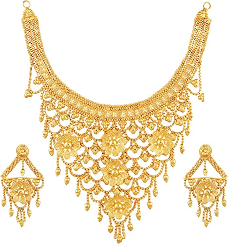 One Gram Gold Floral Choker Jwelery Jwellery Jualry Necklace Jewelry Set For Women