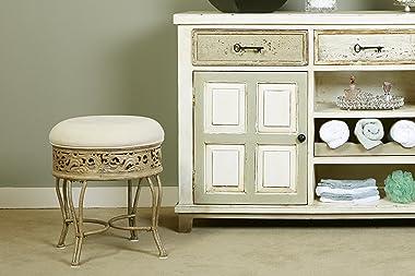 Hillsdale Villa III Upholstered Backless Vanity Stool, Antique Beige