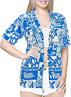 LA LEELA Women Print Tunic Top Hawaiian Shirt Relaxed Aloha