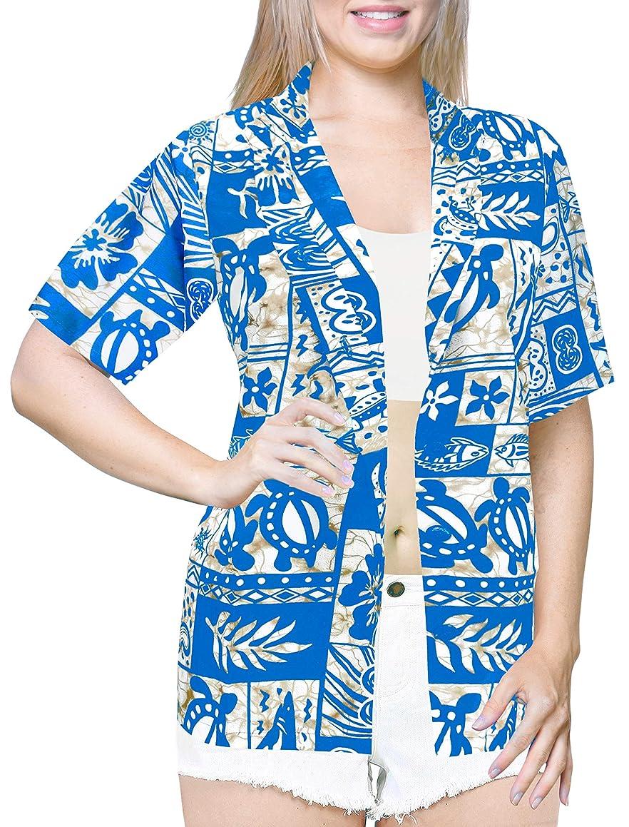 LA LEELA Likre Camp Aloha Beach Top Shirt Bright Blue 96|L - US 38 - 40D