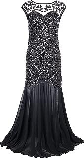 Women 's 1920s Black Sequin Gatsby Maxi Long Evening Prom Dress