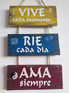 Cartel de madera decoracion, con frases. Ama Rie Sueña