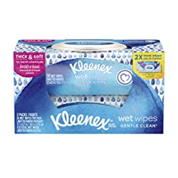 Kleenex Wet Wipes Gentle Clean for Hands and Face, Flip-top Pack, 56 Wipes (2 Packs, 112 Total Wipes