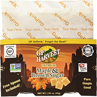 GF Harvest Gluten Free GoPack Single Serve Oatmeal Pack, Maple and Brown Sugar, 10 Count