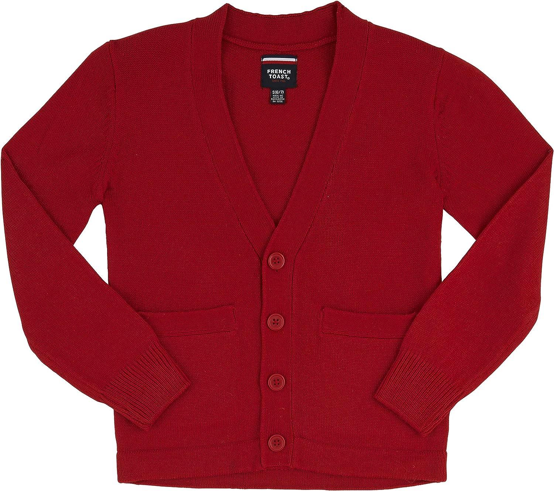 French Toast School Uniform Boys Anti-Pill V-Neck Cardigan Sweater, Red