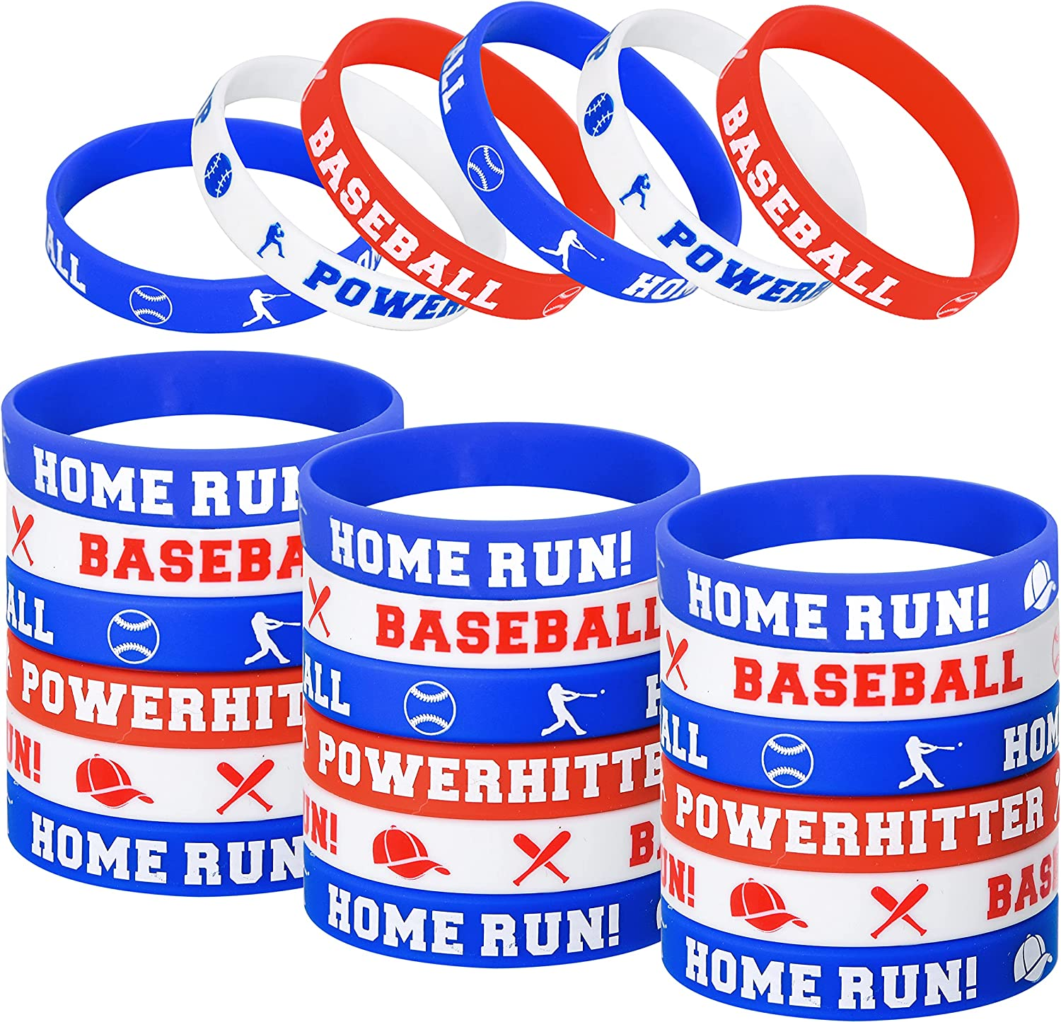 Baseball Party Favors 24 Pcs Baseball Theme Silicone Bracelets Stretch Rubber Wristband for Sport Themed Baseball Game Birthday Party Favors Decorations Supplies