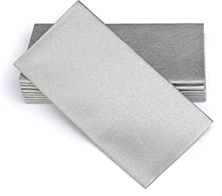 "Simulinen Dinner Napkins – Disposable, Silver, Cloth-Like – Elegant, Yet Heavy Duty Soft, Absorbent & Durable – 16""x16"" – Box of 50"