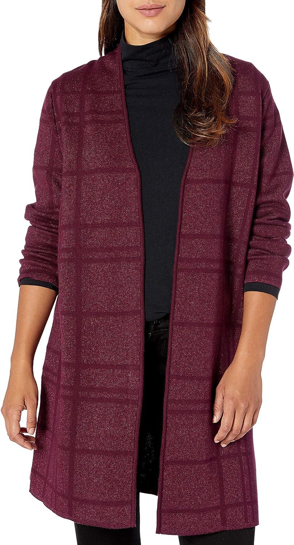 Kasper Women's Plaid Stitch Long Cardigan Sweater