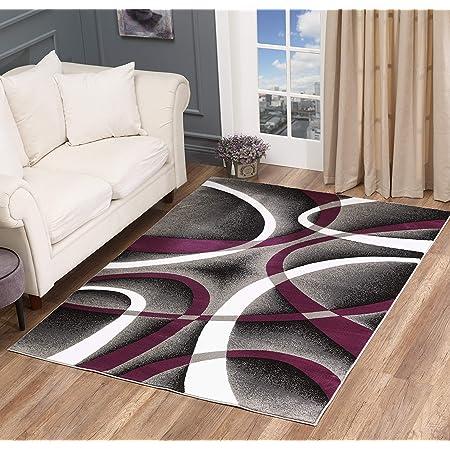 Amazon Com Glory Rugs Modern Area Rug 4x6 Purple Swirls Carpet Bedroom Living Room Contemporary Dining Accent Sevilla Collection 4816a Grey Purple Furniture Decor